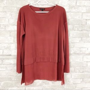 Eileen Fisher Red Silk Blouse